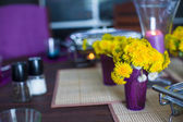 Closeup of beautiful color tableware for decorated table — Stock Photo