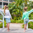 Little adorable girls in a beautiful exotic hotel — Stock Photo #46679247