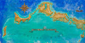 Map of Caribbean island Turks and Caicos painted on the wall — Stock Photo