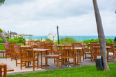 Outdoor cafe on tropical beach at Caribbean — Foto Stock