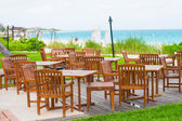 Outdoor cafe on tropical beach at Caribbean — Stock Photo