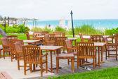 Café al aire libre en playa tropical en el caribe — Foto de Stock
