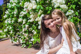 Portrait of little girl and young woman in sunny day — Stock Photo