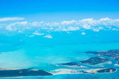 Beautiful perfect view of exotic islands from aircraft — Stock Photo