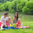 Happy family picnicking in the park — Stock Photo #48423367