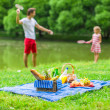 Happy family picnicking in the park — Stock Photo #48423733
