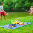 Happy family picnicking in the park — Stock Photo #48423757