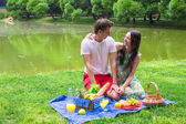 Young happy couple picnicking and relaxing outdoors — Stock Photo