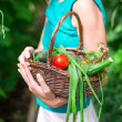 Close-up basket of greens in womans hands — Stock Photo #50664073