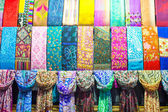 Colorful turkish fabric samples on Grand bazaar — Stock Photo