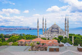 Incredible beautiful view of Blue Mosque from hotel terrace — Fotografia Stock