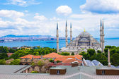 Incredible beautiful view of Blue Mosque from hotel terrace — Stockfoto