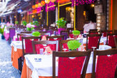 Summer empty open air restaraunt at tourist city of Istanbul — Stock Photo