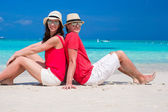 Close up of couple on tropical white beach — Stock Photo