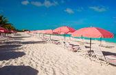 Beautiful white beach with sun loungers — Stock Photo