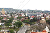 View over Tbilisi and aerial cableway — Stock Photo