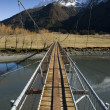 Swing Bridge crossing the Matukituki River. Mount Aspiring National Park. South Island, New Zealand. — Stock Photo