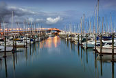 Auckland harbor Bridge from Westhaven Marina. Auckland, New Zealand — Stock Photo