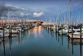 Auckland harbor Bridge from Westhaven Marina. Auckland, New Zealand — Stock Photo