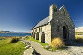 Chiesa accanto al lago tekapo, isola del sud, nuova zelanda — Foto Stock