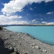 Lake Pukaki, glacier water, low lake level, New Zealand   — Stock Photo