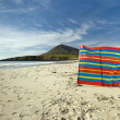 Windbreak used at Northton beach, Toe Head in the background, Isle of Harris, Outer Hebrides, Scotland — Stock Photo