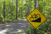 Downhill bike sign on trail in Itasca State Park, Northern Minnesota, USA — Stock Photo