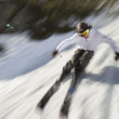 Motion blurred image of an expert skier. — Stock Photo