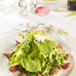 Fancy healthy salad on a white plate. — Stock Photo