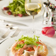Fancy shrimp cocktail appetizer. - Stock Photo