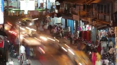Night Port Blair street time lapse — Stok video