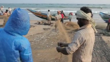 Fishermen And Fishing Net — Stock Video