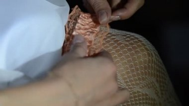 Bride dresses garter — Stok video