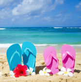 Flip flops on sandy beach — Stock Photo
