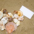 Stock Photo: Heart shape with paper card on beach