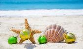 Starfish and seashell with Christmas balls - holiday concept — Stock Photo