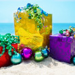 Stock Photo: Gift bag and boxes with Christmas balls - holiday concept