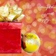 Gift box and Christmas ball - holiday's concept — Stock Photo