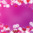 Background with frame from hearts and bokeh — Stock Photo