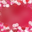 Background with frame from hearts and bokeh — Stockfoto