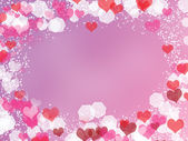 Background with frame from hearts and bokeh — Stok fotoğraf