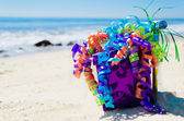 Birthday decorations on the beach — Stock Photo