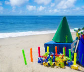 Birthday decorations on the beach — Stock Photo