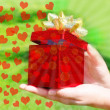 Gift box in woman's hands — Foto de Stock