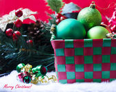 Box with christmas balls — Stock Photo