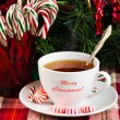 Tea with Christmas candy — Photo