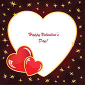 Valentine's background with two hearts with stars — Stock Photo