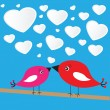 Stock Photo: Valentine's background with birds and hearts