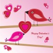 Valentine's background with birds and hearts — Стоковая фотография