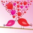 Valentine's background with birds and hearts — Stockfoto
